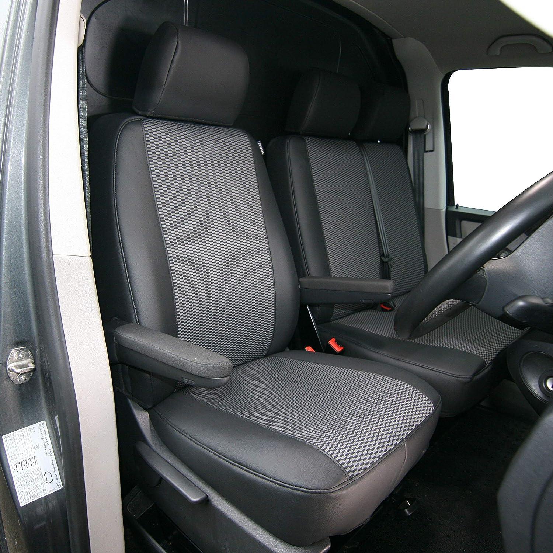 dise/ñada para adaptarse al Volkswagen T5//T6 Transporter de piel sint/ética a medida resistente 1+2 Funda impermeable para asiento de coche