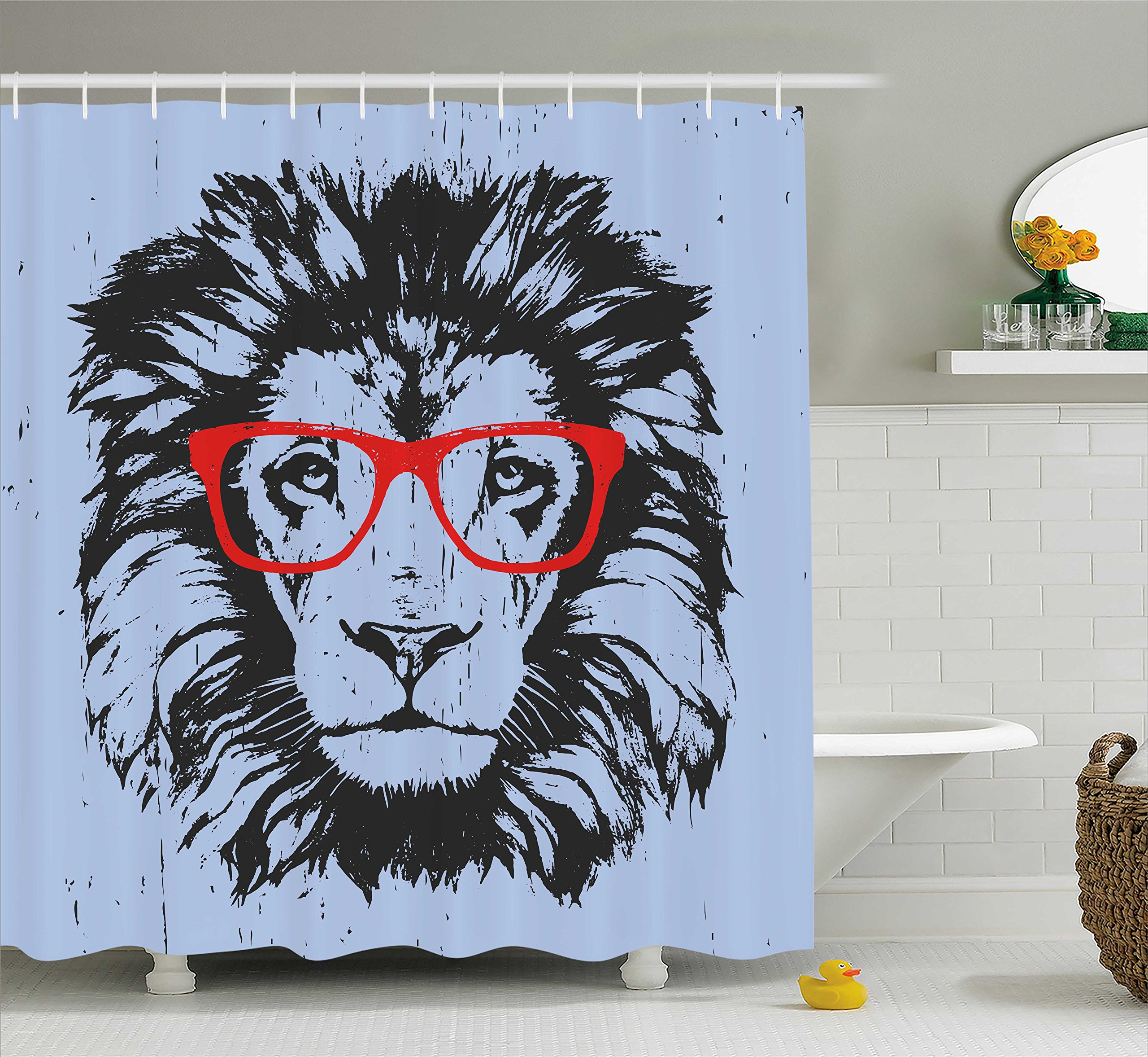 Ambesonne Animal Shower Curtain, Grunge Lion Portrait with Hipster Glasses Nerd Humor Comic King Illustration, Fabric Bathroom Decor Set with Hooks, 70 Inches, Blue Red Charcoal Grey