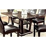 furniture of america alfaro modern faux marbletop dining table