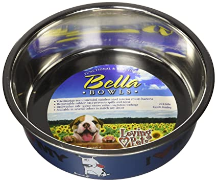 Pet Supplies Loving Pets Bella Bowl For Dogs Medium Murano Blue Fast Color Bird Supplies