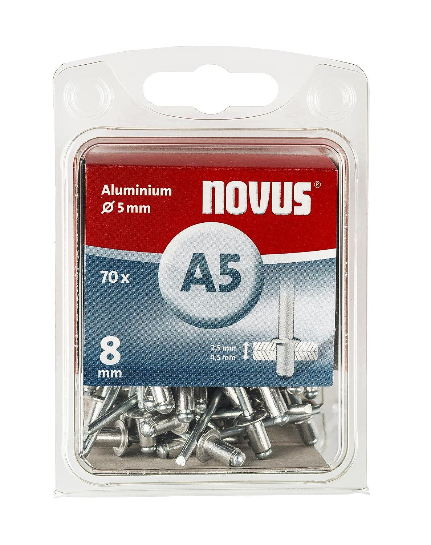 Novus Blindnieten Ø 5 mm Aluminium, 70 Nieten, 10 mm Lä nge, zur Befestigung von Kunststoff, Stoffen und Leder 045-0048