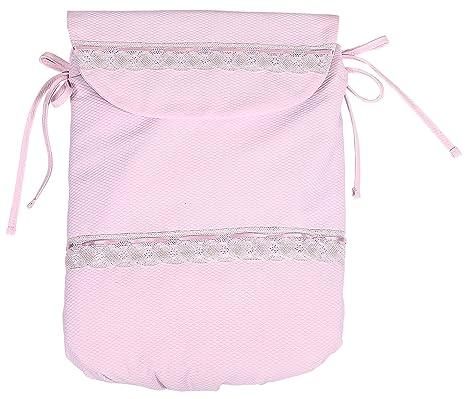 Saco Capazo + Funda Ajustable Danielstore Universal .Piqué cinta.Carrito Bebé Color rosa