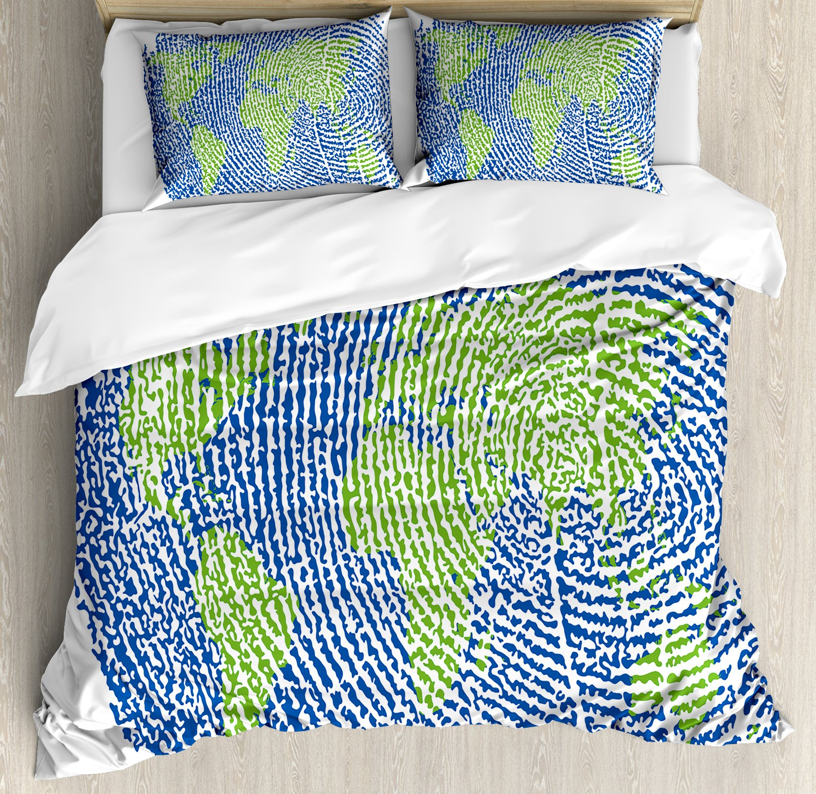 World Map Duvet Cover Set Queen Size by Ambesonne, Map of the World Fingerprint Style Continents Asia Europe Africa America, Decorative 3 Piece Bedding Set with 2 Pillow Shams, Navy Blue Green