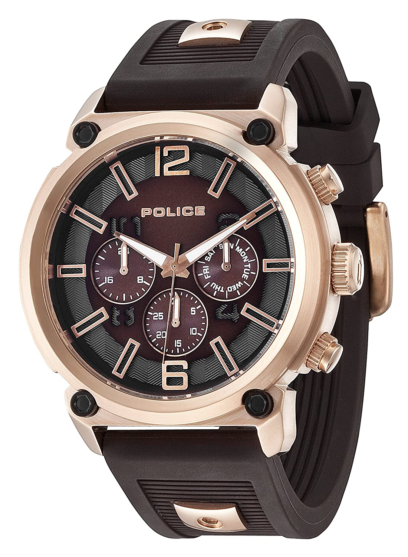 POLICE Herren-Armbanduhr ARMOR Analog Quarz Silikon P14378JSR-12P