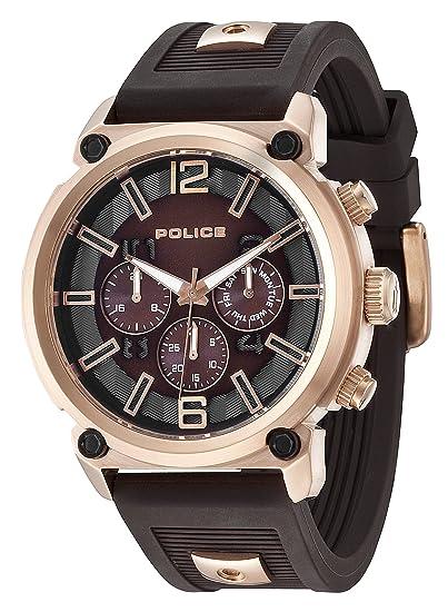 Police Reloj de Hombre Armor de Cuarzo con esfera marrón pantalla cronógrafa y correa de silicona marrón 14378JSR/12P: Amazon.es: Relojes