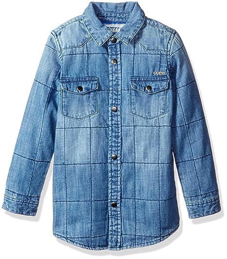 91c76deb223 Amazon.com  GUESS Boys  Long Sleeve Quilted Denim Shirt  Clothing