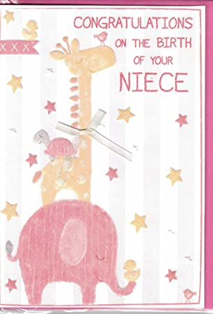 new baby girl card congratulations on the birth of your niece new baby card