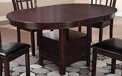 Amazoncom Lavon Dining Table With Storage Espresso Tables