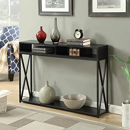 Convenience Concepts Tucson Deluxe 2 Tier Console Table, Black