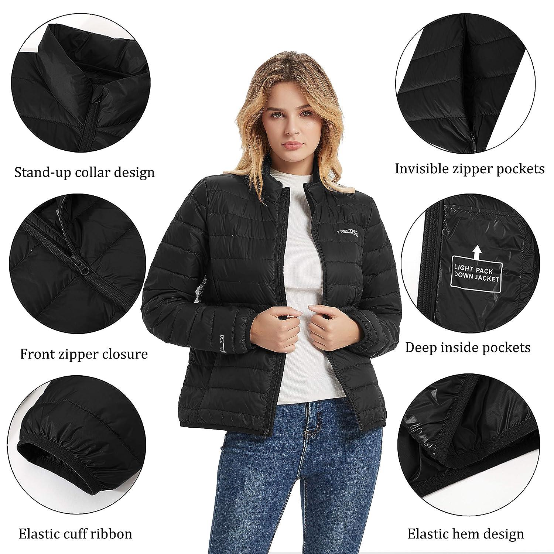 Freetrack Down Jackets for Women Lightweight Puffer Packable Winter Coats
