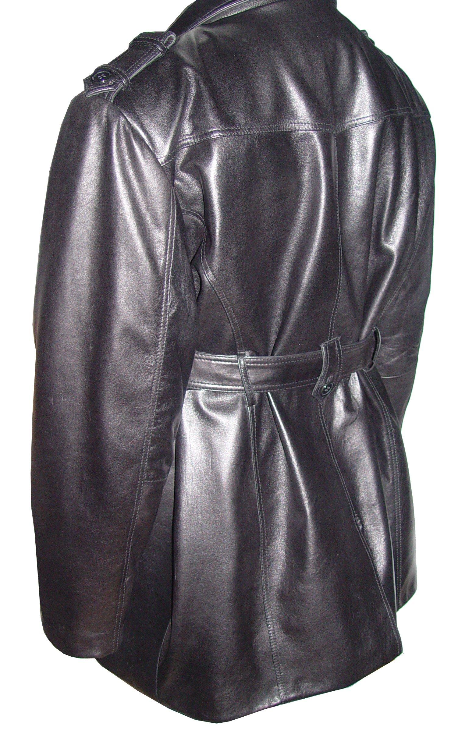 Nettailor 2041 Men Fine Clean Classic Black Leather Trench Coat by NETTAILOR (Image #6)