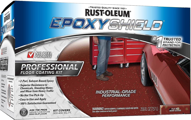 Rust-Oleum 238468 Epoxy Shield Esh-06 Professional Based Floor Coating Kit, Liquid, Tile Solvent Like, 263 G/L Voc, Tile Red