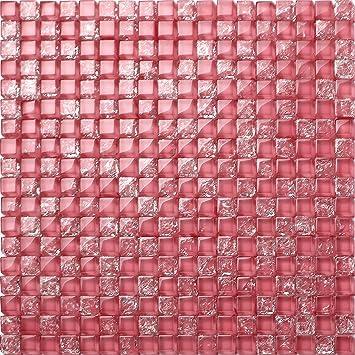 Glas Mosaik Fliesen Matte In Pink Gebrochene Und Klare Glas Optik - Fliesen glasoptik