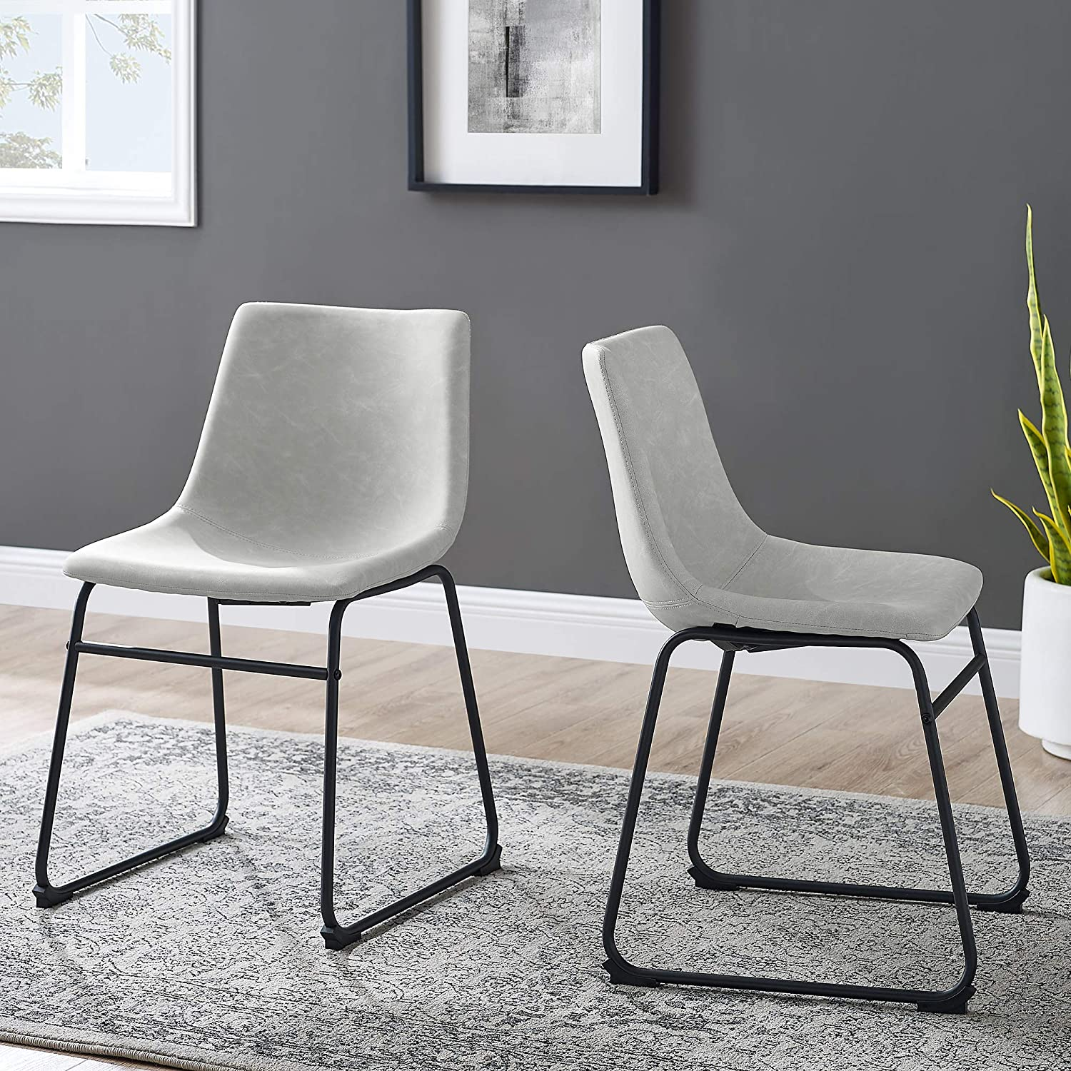 Walker Edison Furniture Company Modern Faux Leather Upholstered Dining Chair, Set of 2, Gray