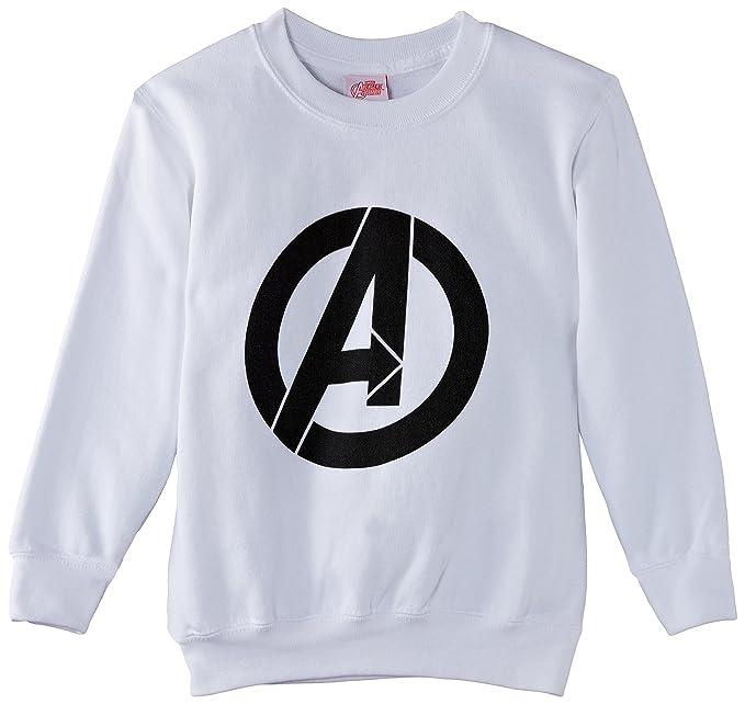 Marvel Avengers Assemble Simple Logo, Sudadera para Niños, Blanco M