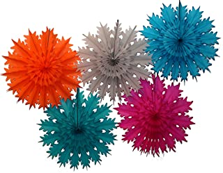 """product image for Devra Party 5-Piece Multi-Colored 19"""" Tissue Paper Snowflake Set (Gem- Turquoise/Teal/Cerise/Orange/Gray)"""