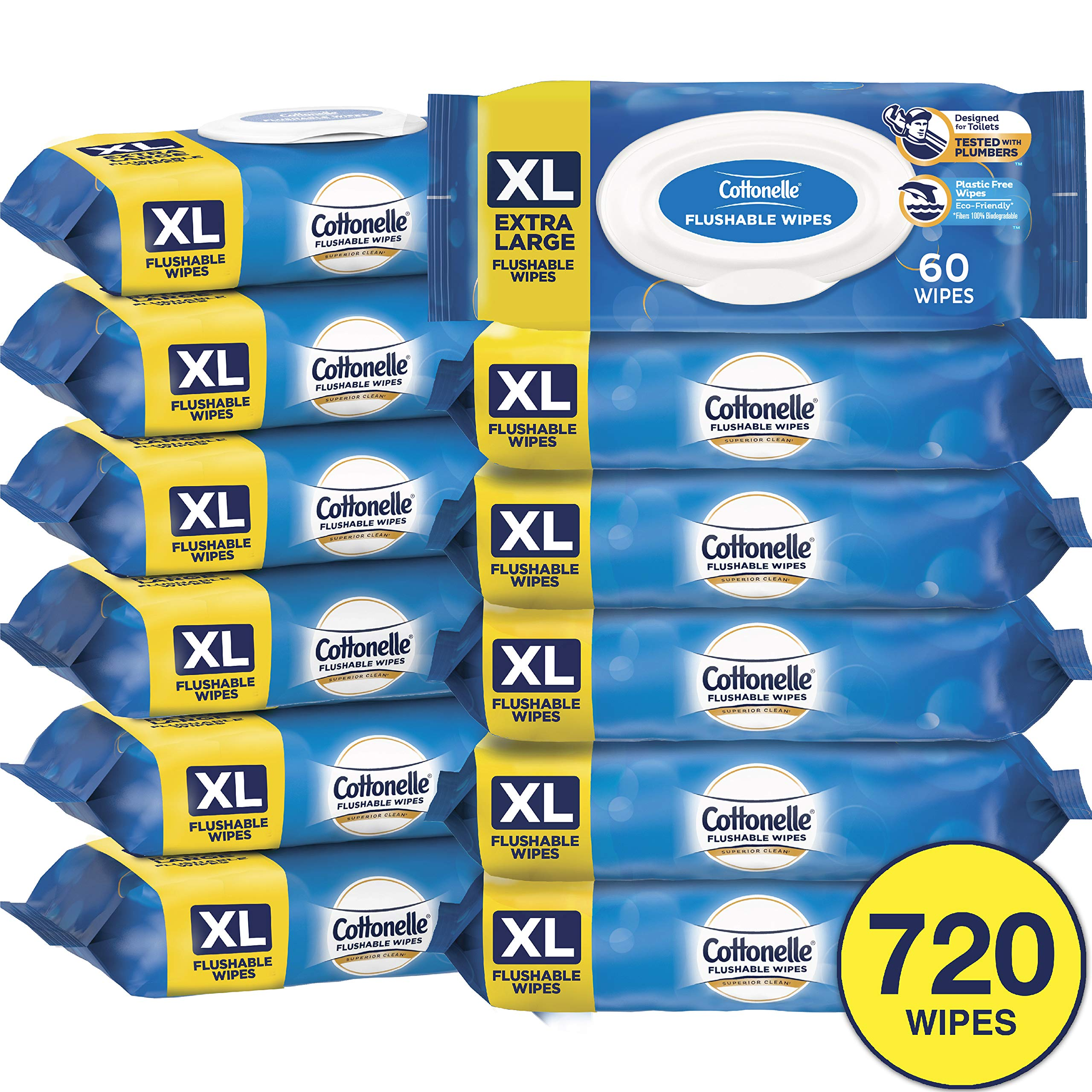 Cottonelle Extra Large Flushable Wet Wipes, Unscented, 60 Wipes per Pack, 12 Packs by Cottonelle