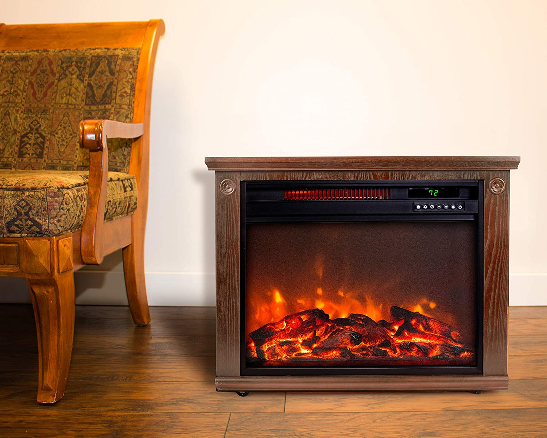 LifesmartLarge Room Infrared Quartz Fireplace in Burnished Oak Finish w/Remote