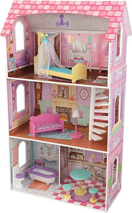 Amazon Com Kidkraft Penelope Wooden Pretend Play House Doll Dollhouse Mansion With Furniture Multi Model 65179 Toys Games