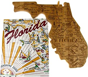 Florida State Destination Bamboo Serving & Cutting Board Bundled with Florida Kitchen Towel