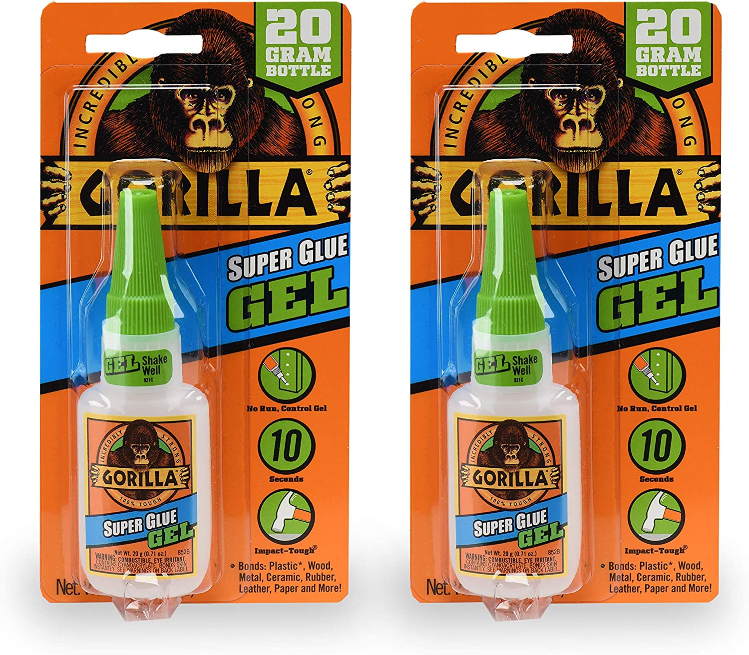 Gorilla 7700108 20 Gram 2-Pack Super Glue Gel Clear
