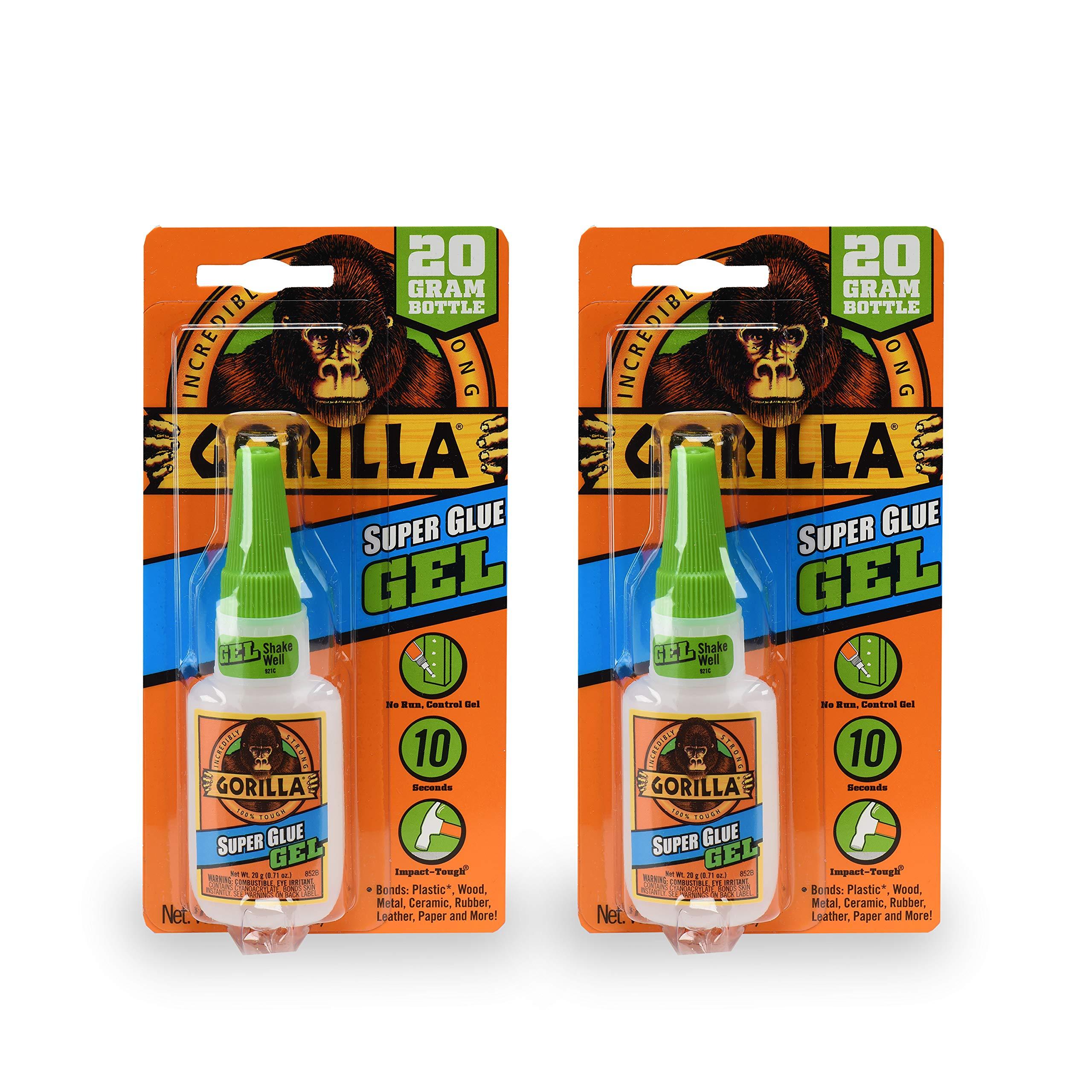 Gorilla 7700108 20 Gram 2-Pack Super Glue Gel, Clear by Gorilla