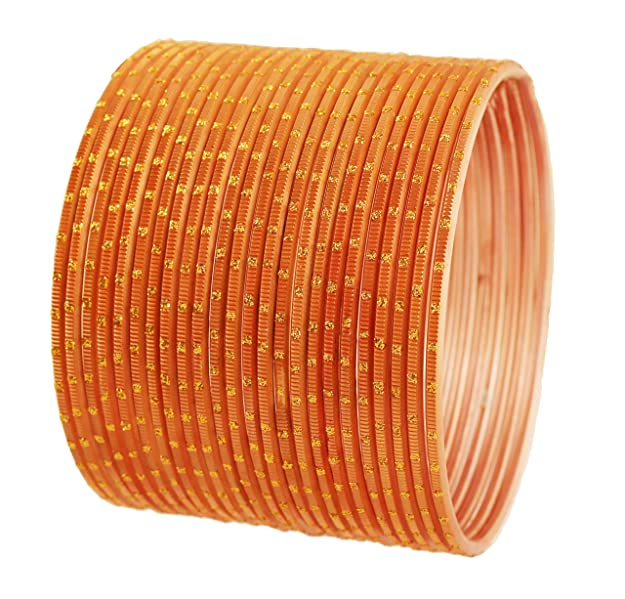 "Touchstone ""Colorful 2 Dozen Bangle Collection Indian Bollywood Alloy Metal Textured Peach Color Designer Jewelry Special Large Size Bangle Bracelets Set of 24 In Antique Gold Tone For Women"