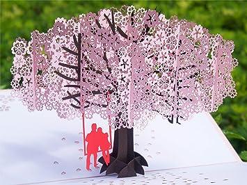 New 3D Pop Up Couple Cherry Tree Valentine Anniversary Wedding Greeting Card