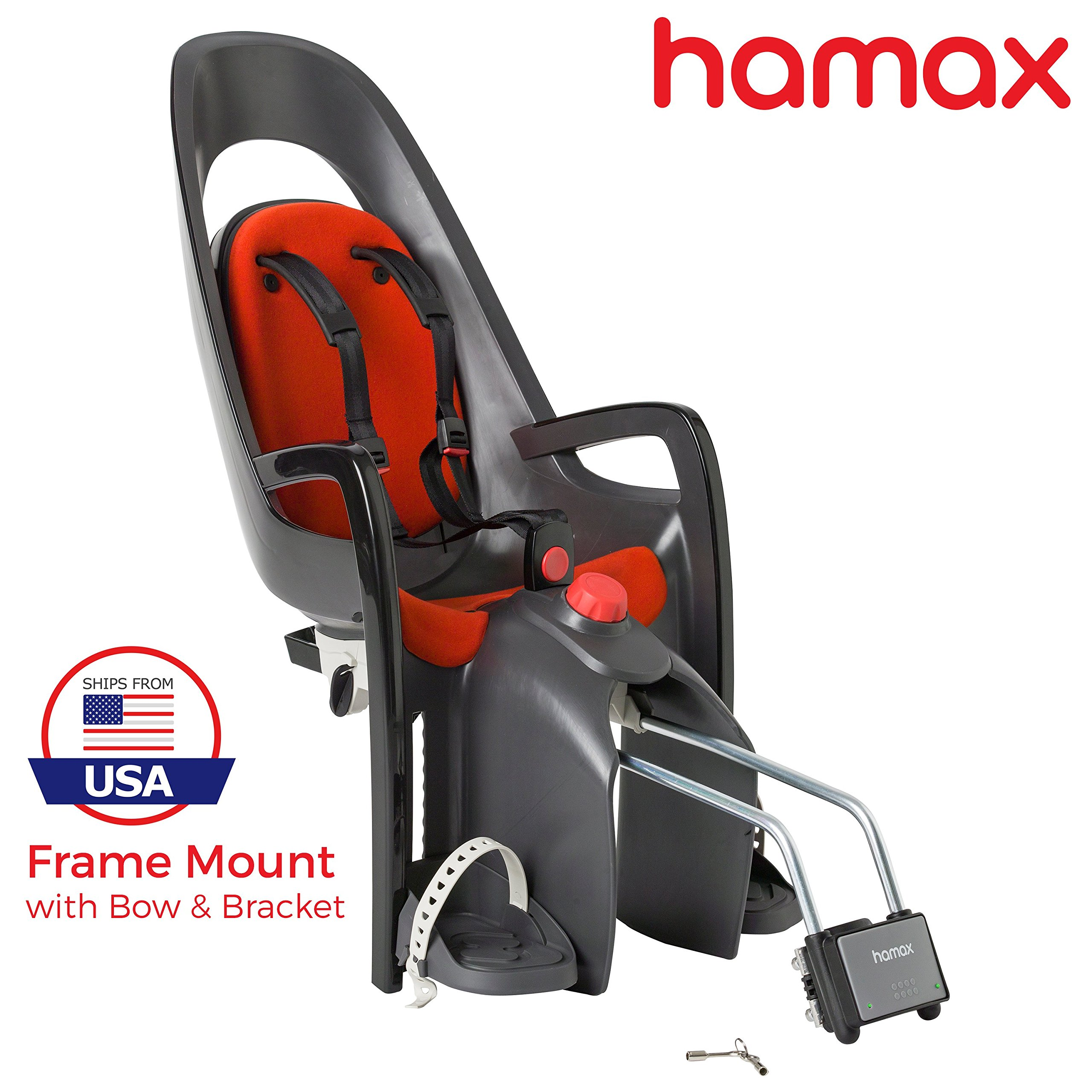 Hamax Caress Rear Child Bike Seat (Grey/Red, Frame Mount) by Hamax (Image #1)
