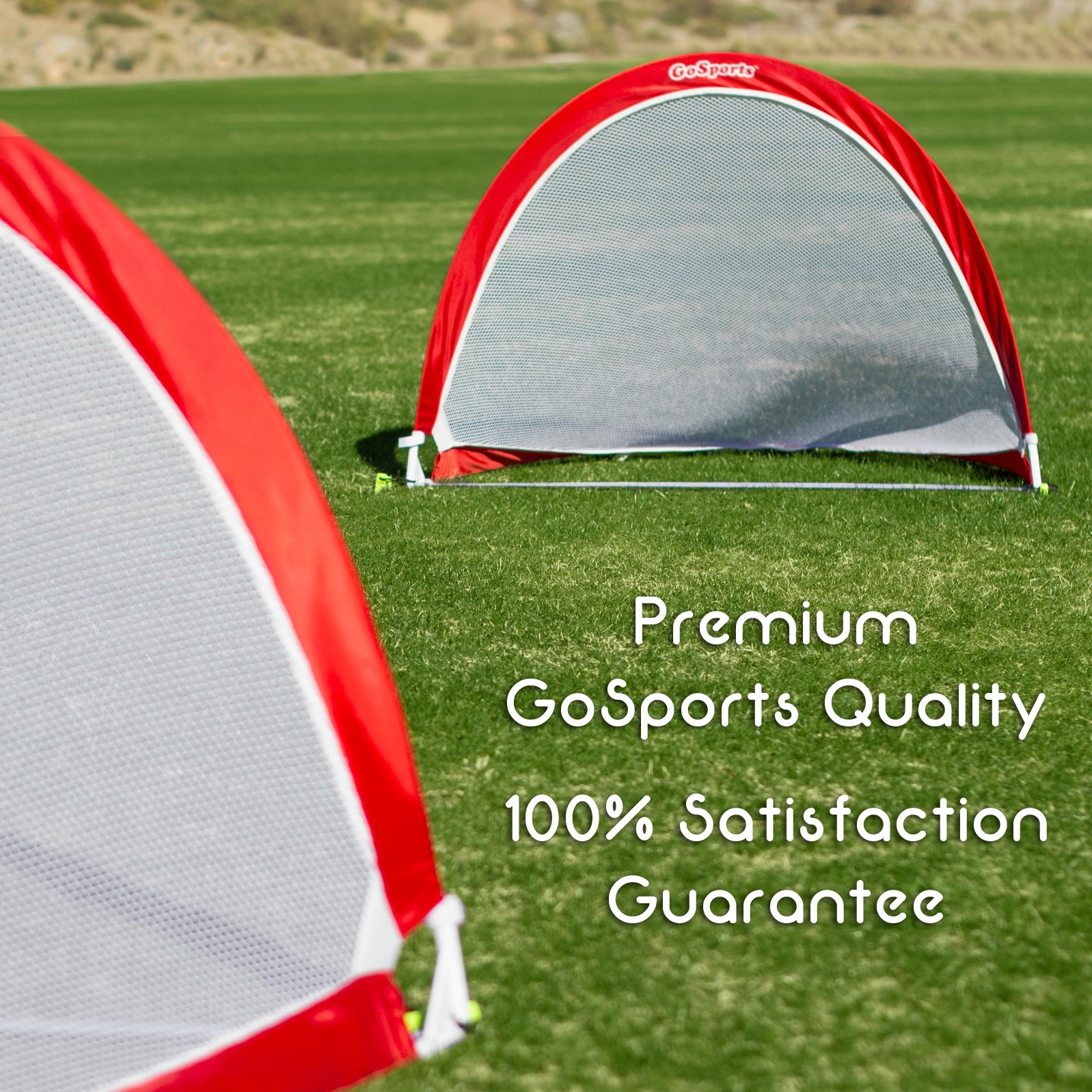 GoSports Portable Pop-Up Soccer Goal (Set of 2), Red/White, 4' by GoSports (Image #3)