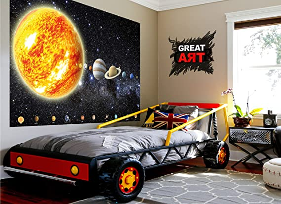 GREAT ART XXL Póster Cuarto De Los Niños - Planetas del Sistema ...