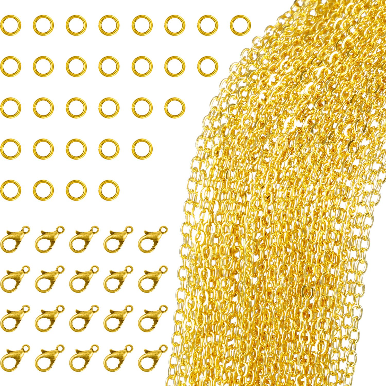 33 Feet Gold Plated Link Chain Necklace with 30 Jump Rings and 20 Lobster Clasps for Jewelry DIY Making (1.5 mm) TecUnite