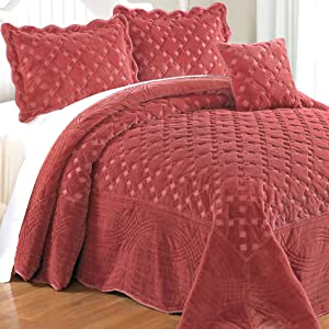 Serenta Faux Fur Quilted Tatami 4 Piece Bedspread Set, King, Dusty Cedar