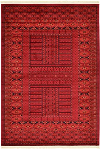Unique Loom Tekke Collection Tribal Traditional Torkaman Red Area Rug 6 0 x 9 0