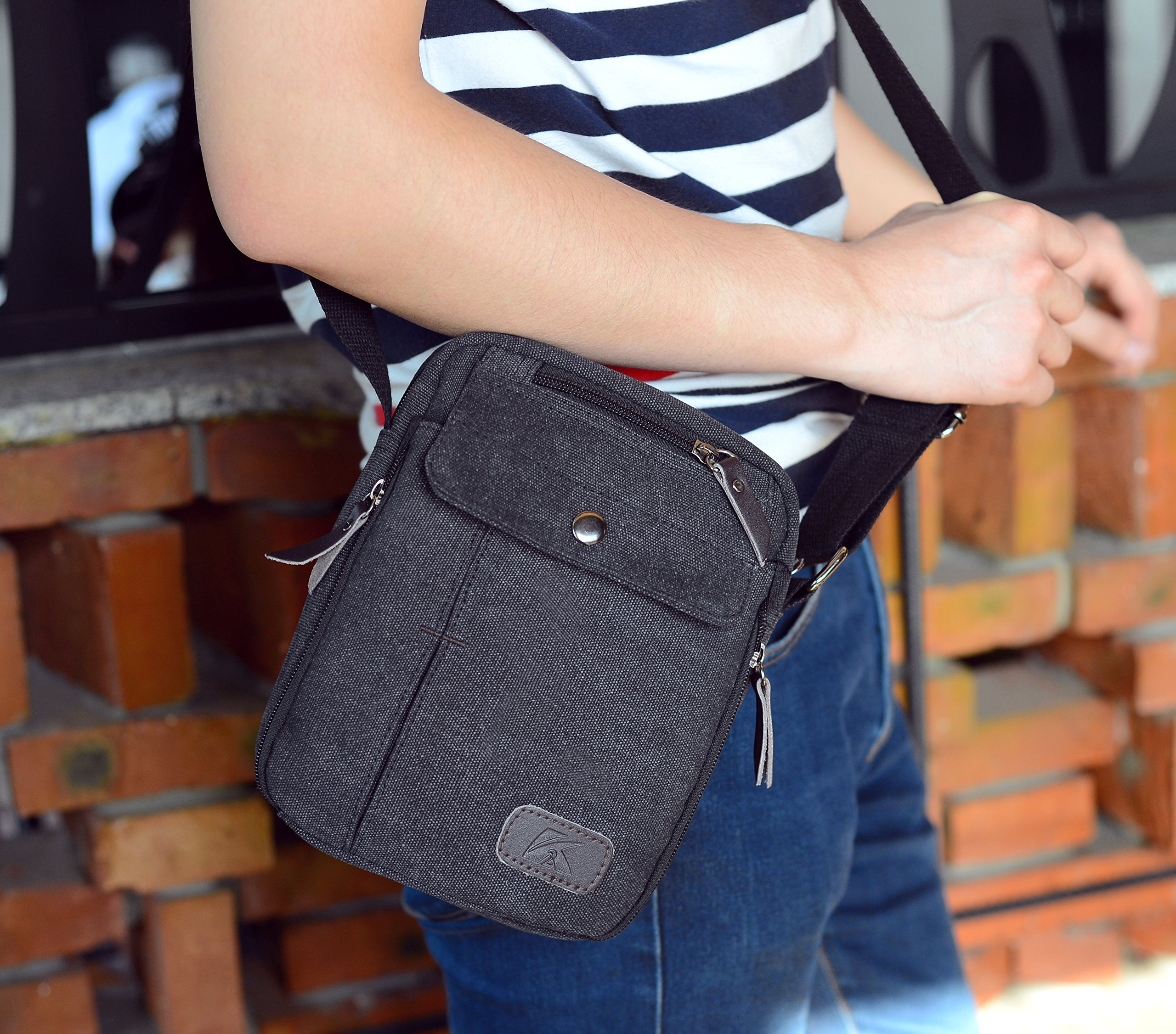 Heavy-Duty Canvas Small Messenger Bag Classic Multi-pocket Mini Shoulder Crossbody Bags Travel Purse by Haoguagua (Image #4)