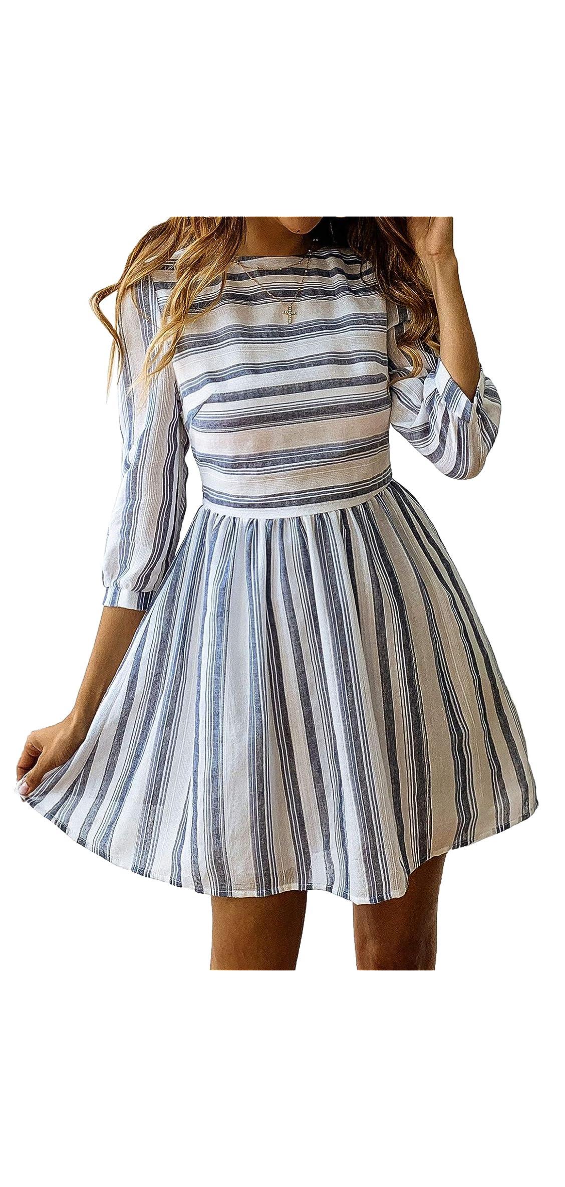 Womens A Line / Sleeves Striped Dress High Waist Scoop