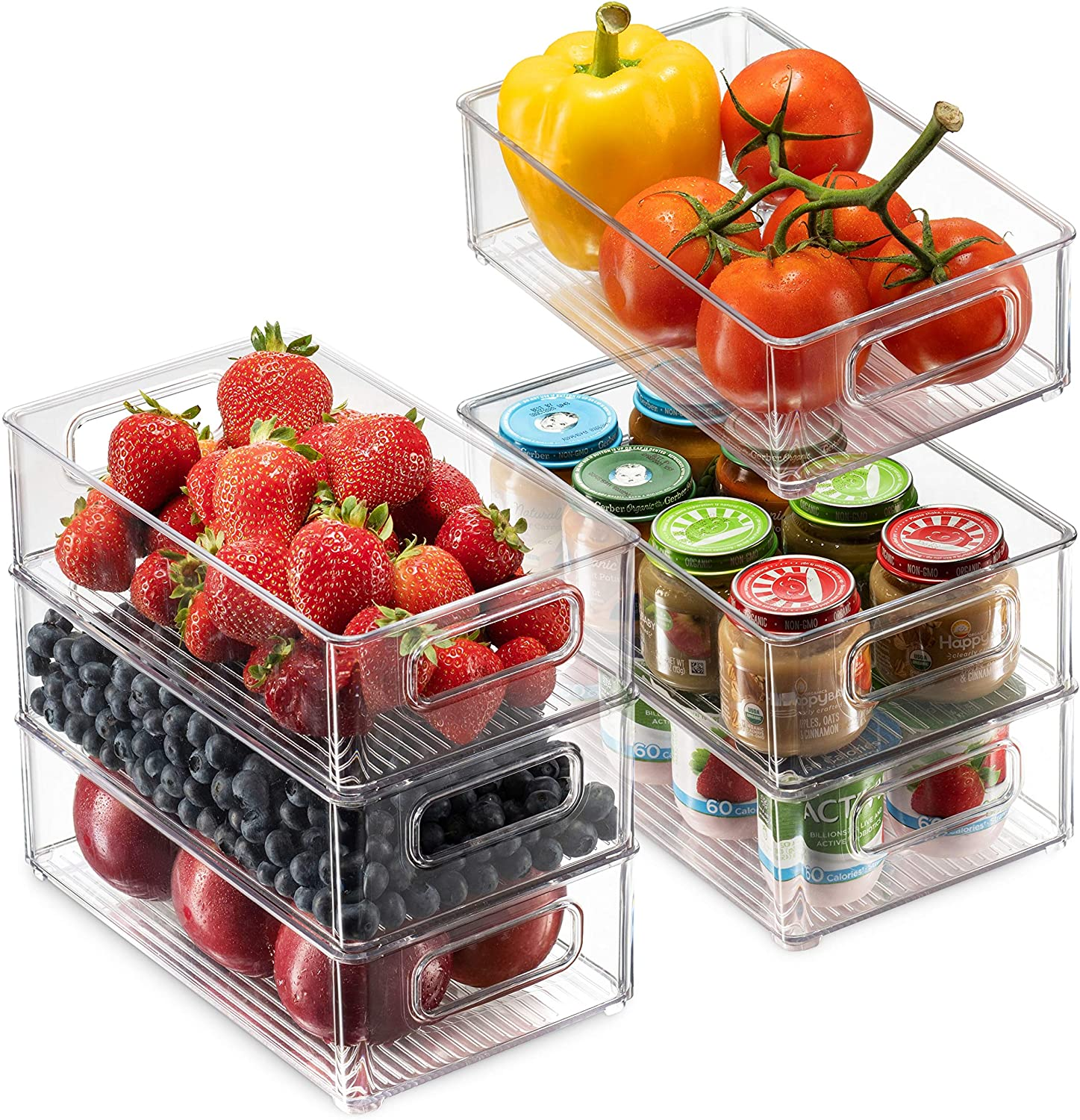Set Of 6 Refrigerator Organizer Bins - Stackable Fridge Organizers with Cutout Handles for Freezer, Kitchen, Countertops, Cabinets - Clear Plastic Pantry Food Storage Rack: Kitchen & Dining