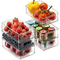 Set Of 6 Refrigerator Organizer Bins - Stackable Fridge Organizers with Cutout Handles for Freezer, Kitchen, Countertops…