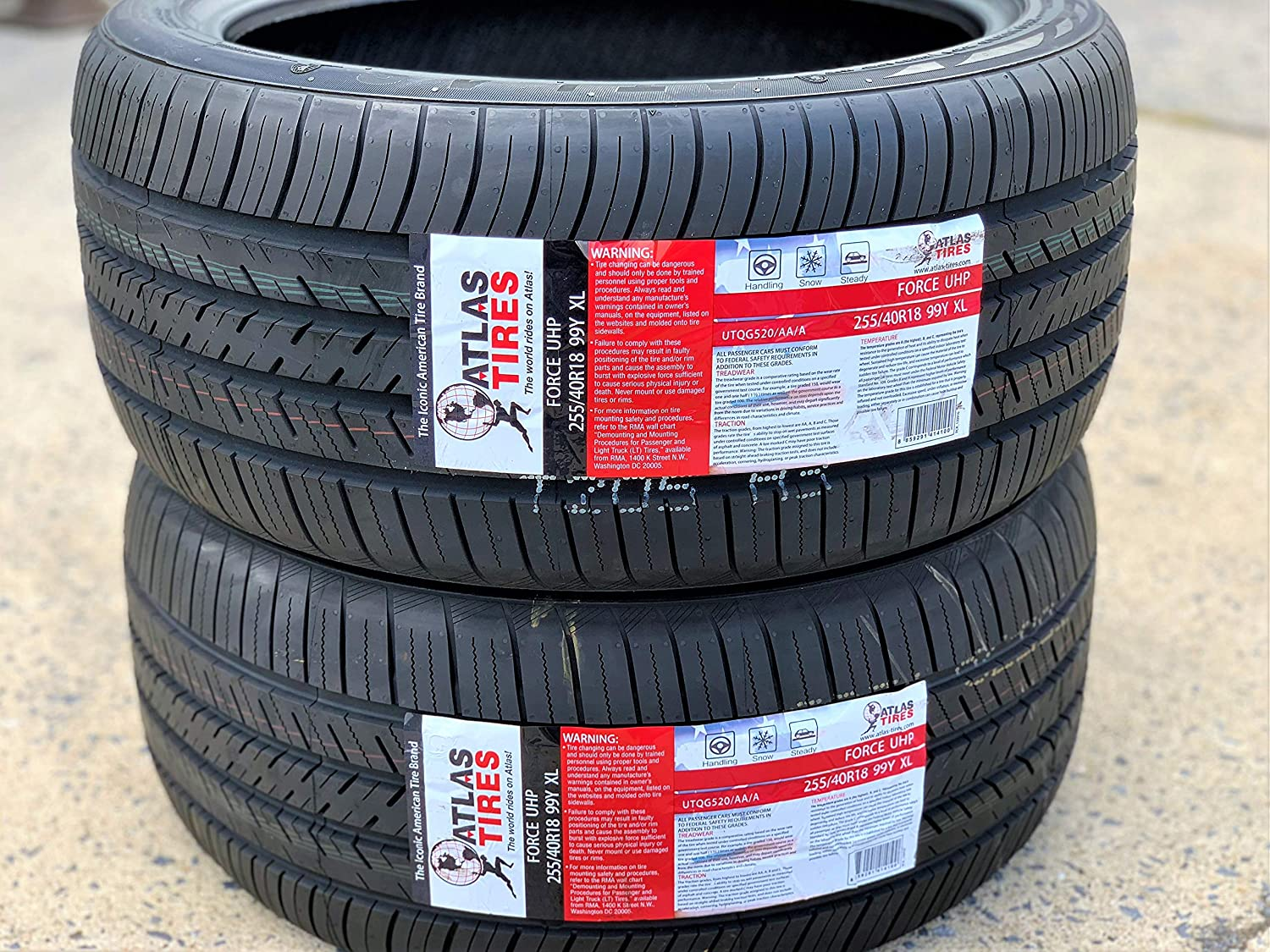 Set of 2 Atlas Tire Force UHP Ultra-High Performance All-Season Radial Tires 255//40R18 99Y XL TWO