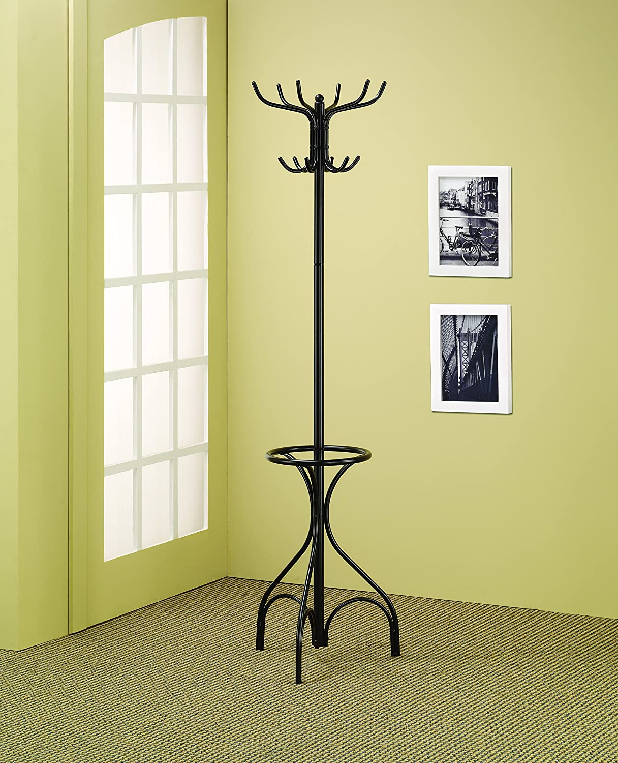 Coat Rack with Umbrella Holder Black