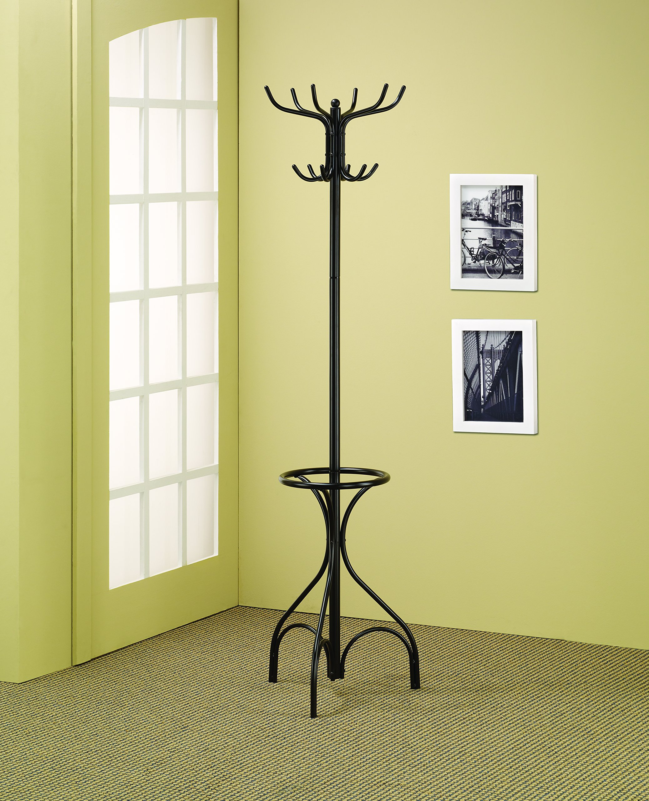 Coaster Traditional Black Coat Rack with Umbrella Holder