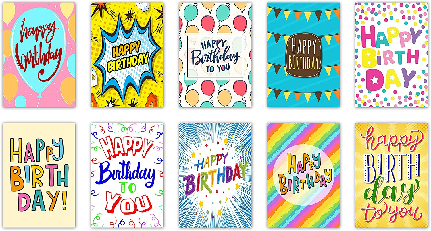 Made in UK 10 Designs 20Words Design Birthday Cards /& Envelopes by Greetingles