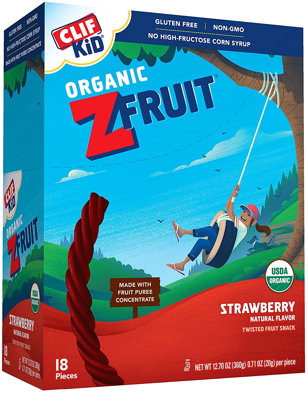 Clif Kid Zfruit   Organic Fruit Rope   Strawberry   (0.7 Ounce Rope, 18 Count) by Zfruit