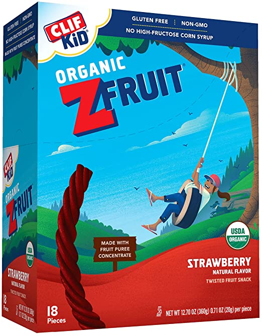 CLIF KID ZFRUIT - Organic Fruit Snack - Strawberry - (0.7 Ounce Rope, 18 Count)