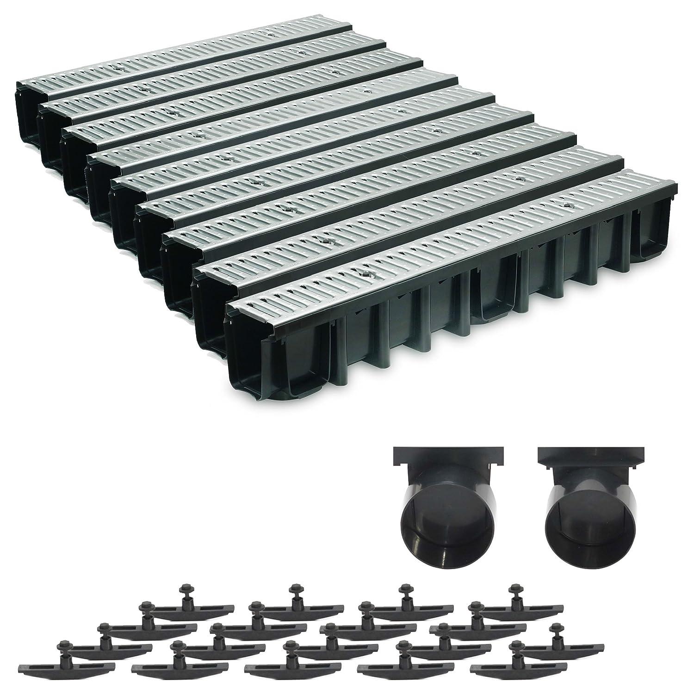 9m Entwässerungsrinne Terrassenrinne Stahlrost verzinkt komplett SET, System A15 148mm, inkl. Zubehör