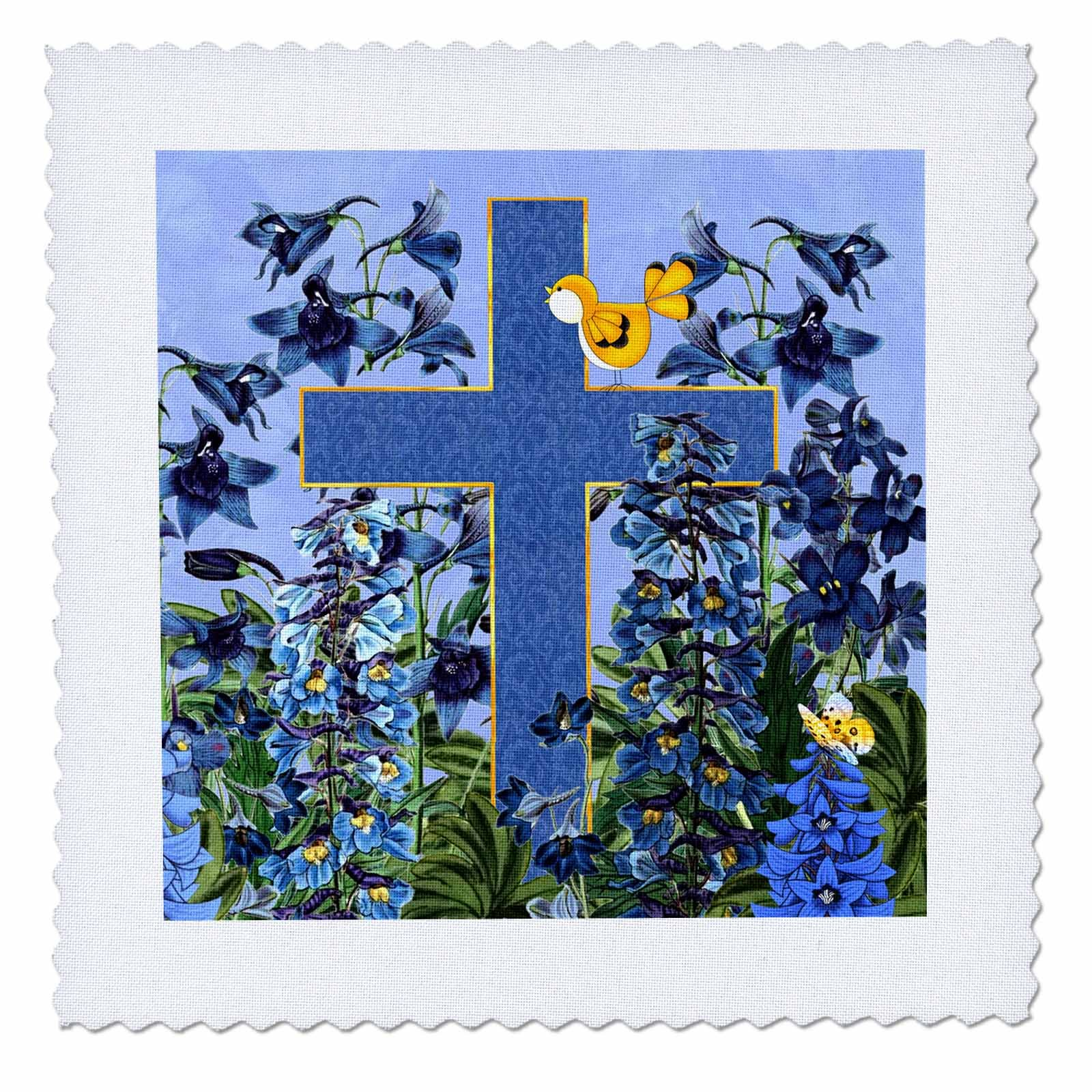3dRose Doreen Erhardt Inspirational - Larkspur Garden with Yellow Canary and Christian Cross - 22x22 inch quilt square (qs_266787_9)