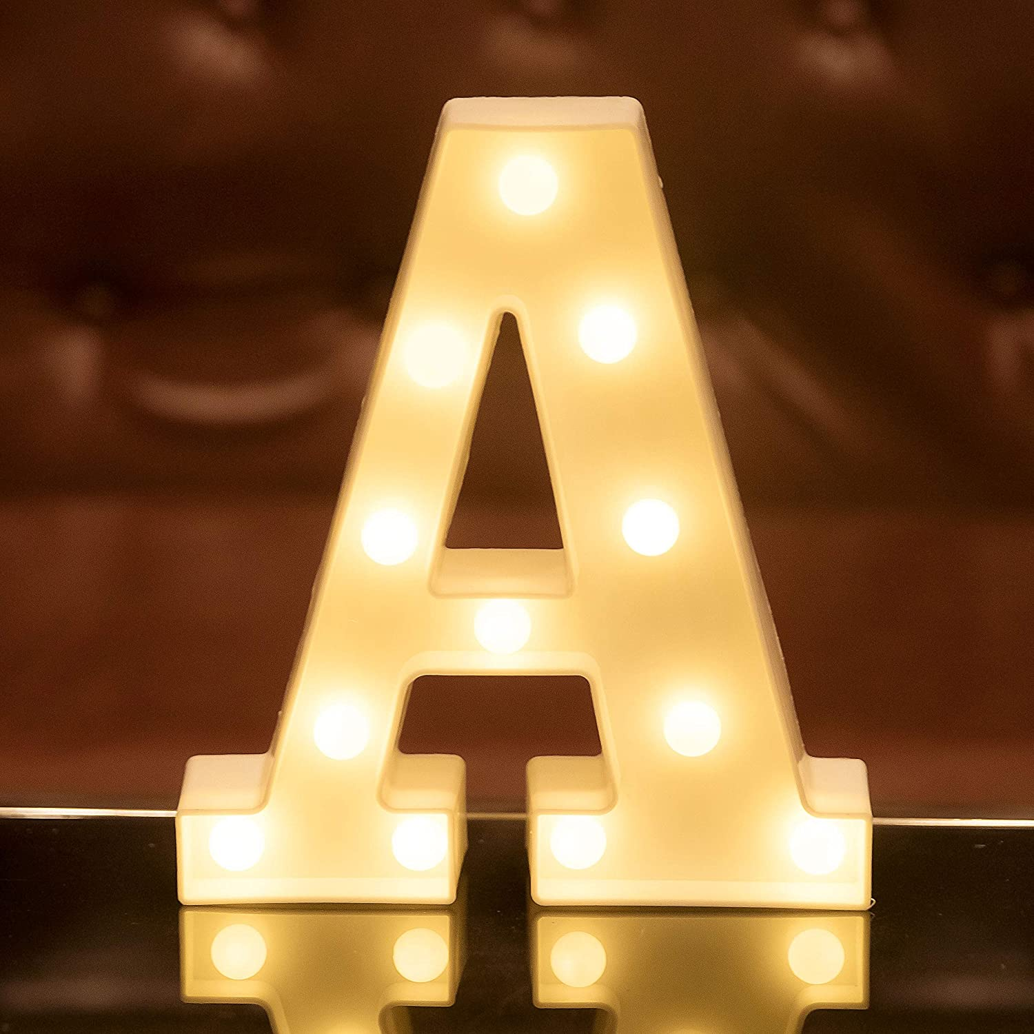 Focux LED Marquee Letter Lights Alphabet Light Up Sign for Night Light Home Party Birthday Wedding Bar Decoration LED Letter Battery Powered Christmas Night Light Lamp Home Bar Decoration (A)