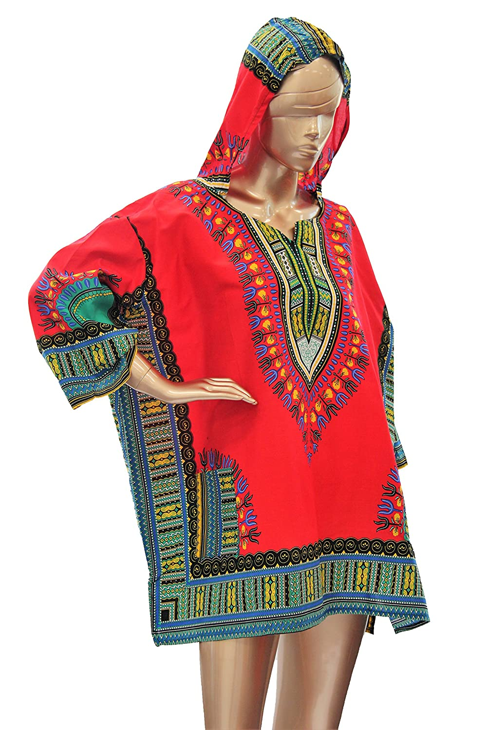 Dashiki Top African Print Hooded 3/4 Sleeve Plus Size Dashiki Women Top 79 17046-1