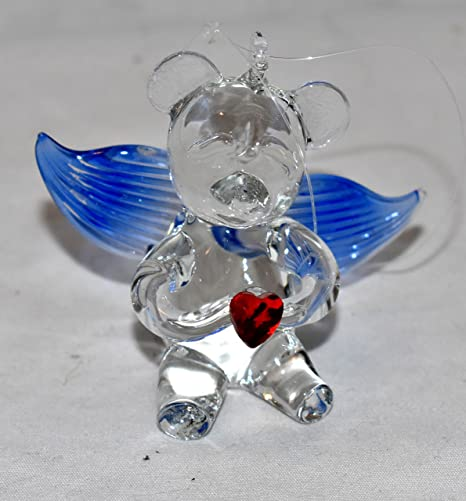 Amazon Com New 2 5 Collectible Teddy Bear With Wings Holding A Heart Hand Blown Glass Hanging Ornament Figure Blue Wings Home Kitchen