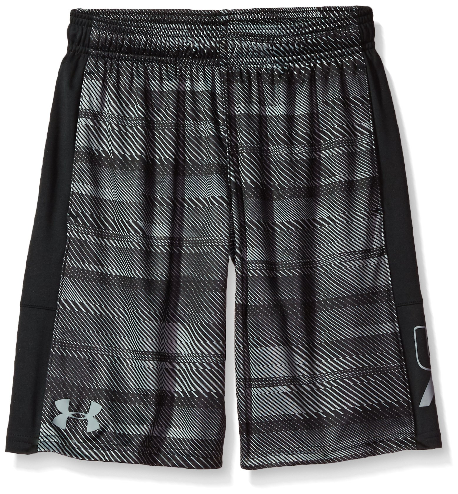 Under Armour Boys' Instinct Printed Shorts,   Black /Steel Youth X-Small by Under Armour